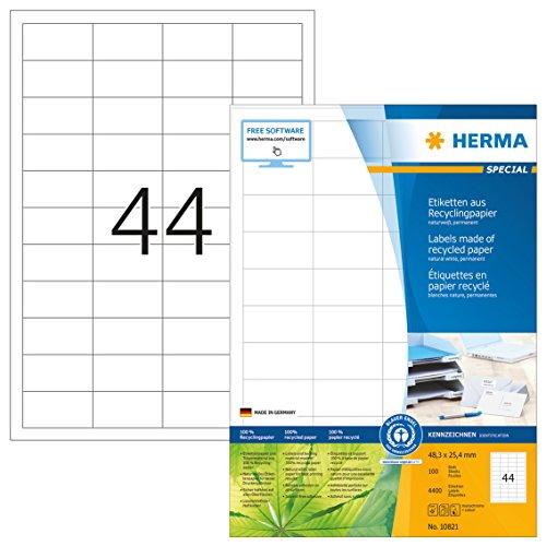 HERMA 10821 Recycling Etiketten DIN A4 (48,3 x 25,4 mm, 100 Blatt, Recycling-Papier) selbstklebend, bedruckbar, permanent haftende Adressaufkleber, 4.400 Klebeetiketten, weiß