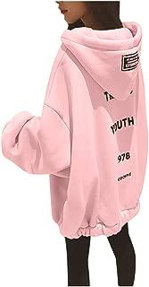 Women Hoodies Sweatshirt Tops, Ladies Plus Size Long Sleeve Letter Print Pullover Jacket Coat