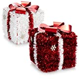 com-four 2X Regalo de decoración navideña - Caja Brillante como decoración de habitación para Navidad y Adviento - Caja de Regalo para esconder Regalos (02 Piezas - Regalo Rojo Blanco)