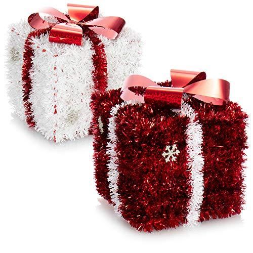com-four® 2X Regalo de decoración navideña - Caja Brillante como decoración de habitación para Navidad y Adviento - Caja de Regalo para esconder Regalos (02 Piezas - Regalo Rojo Blanco)