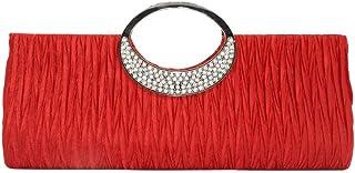 Frauen Strass Dekoration Abendtasche mit Rüschen YunYoud Damen Handtasche Shopper Handtasche Kettenquadrat Paket Mode Part...