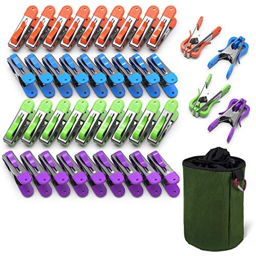 VOUNOT 40 Pinzas para Tender Ropa con Bolsas para Pinzas, Pinzas Ropa Acero Inoxidable Multipropósito, con Agarre Suave y Gancho, 4 Colores