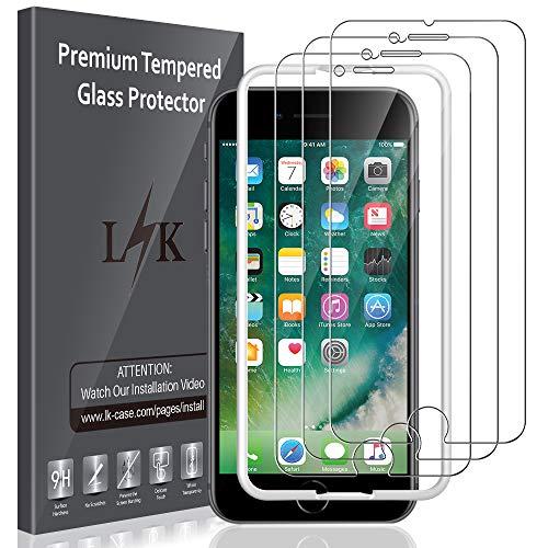 LK Panzerglas Schutzfolie kompatibel mit iPhone SE 2020/8/7, [Keine weißen Ränder] 3 Stück 9H Härte Panzerglasfolie, HD Klar Displayschutzfolie, [Anti-Kratzen] [Blasenfrei] [Einfacher Montage]