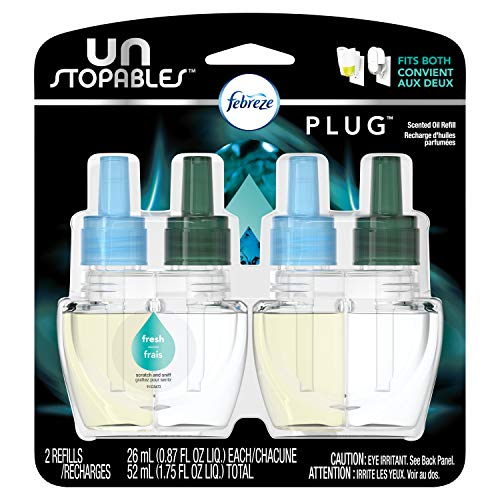 Febreze Air Freshener, Unstoppables Air Freshener, Fresh Pluggable Scented Oil Refills Air...