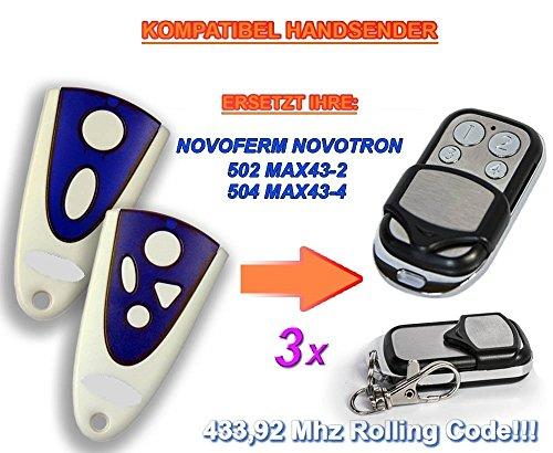 3 X NOVOFERM NOVOTRON 502 MAX43-2, 504 MAX43-4 Kompatibel Handsender, 433.92Mhz rolling code keyfob