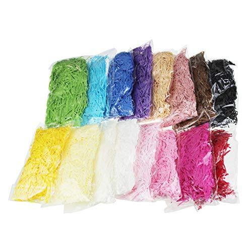 LJY 320 g buntes Bastpapier und Schnüre geschreddert knittertes Konfetti für DIY Geschenkverpackungen und Korbfüllungen