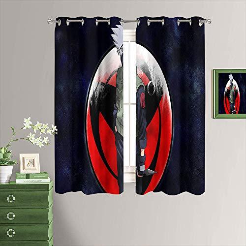 MRFSY Cortinas opacas con aislamiento térmico con ojales en la parte superior, diseño de Anime Naruto, 55 x 45 cm