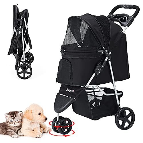 ペットカート 折りたたみ 3輪 犬用ベビーカー 猫犬兼用 多頭用 前輪360°回転 後輪ブレーキ付 組み立て簡単 介護用 ペットバギー 耐荷重15kg (ブラック)
