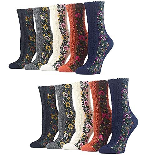 xiaozhifu Vintage Embroidered Floral Socks, Women Nordic Stripe Flower Socks Girls Vintage Ethnic Floral Cotton Socks (10 Pairs)