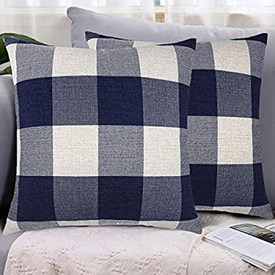 LHKIS Throw Pillow Covers 18x18 Decorative Pillow Case Cushion Cover with Plaids Blue and White Buffalo Checked Plaid for Couch Sofa Bedroom Car, Set of 2