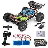 GoolRC 144001 1/14 Coche RC Wltoys Coche de Carreras de Alta Velocidad 1500mAh Batería 60 km / h 2.4GHz RC Buggy 4WD Off-Road Drift Car RTR (Verde, 3 Batería)