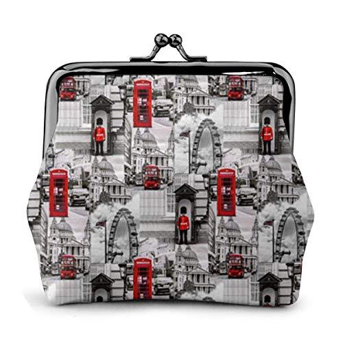 Portefeuille en Cuir Londres Noir Blanc Rouge UK Grande-Bretagne Boucle Porte-Monnaie Porte-Monnaie Vintage Pochette Kiss-Lock Change Purse