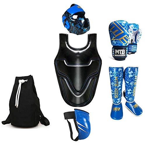 JXS Kinder Boxen Protektoren Set-Boxhandschuhe, Brustschutz, Kopfschutz, Beinschutz, Tiefschutz, Speicherbeutel-90~140 cm