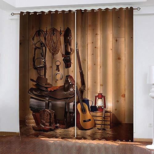 JTBDWOSU Cortinas Opacas De Dormitoriomoderno Suaves Térmicas Aislantes 300X280 Cm (Ancho X Alto) Guitarra Musical para Balcon Habitación Decorativa 2 Paneles con Ojales - Cortinas Infantiles Impres