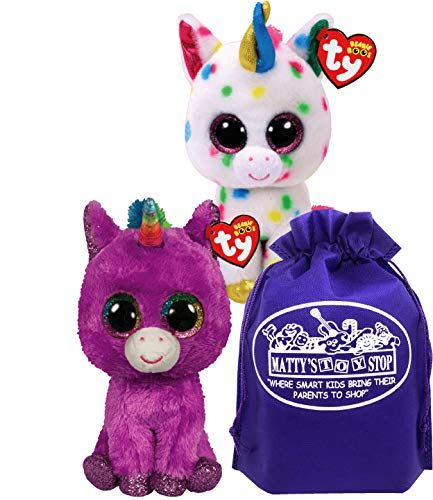 TY Beanie Boos Unicorns Rosette (Purple) & Harmonie (Rainbow Speckle) Gift Set Bundle with Matty's Toy Stop Storage Bag - 2 Pack