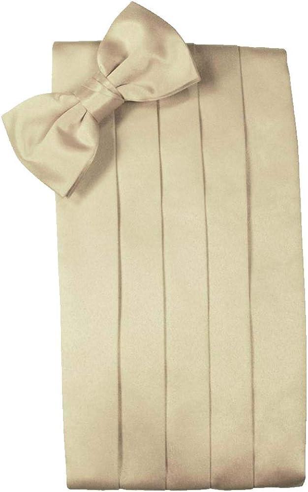Men's Solid Satin Cummerbund & Bow Tie Set - Many Colors (Bamboo)