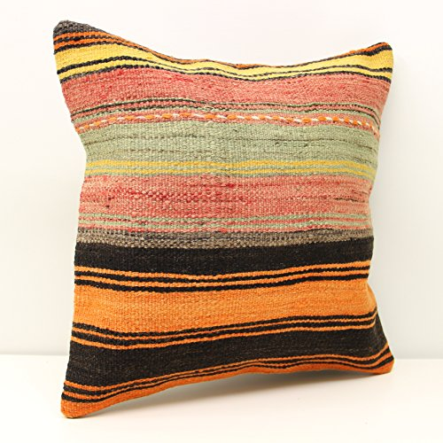 Handmade kilim pillow cover 20x20 inch (50x50 cm) Traditional Kilim pillow cover Home Decoration Rustic Pillow cover Kilim Cushion Cover