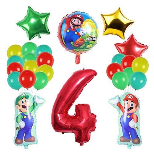 JSJJAET Globo 27 unids/Set Globos 40 Pulgadas número Globos niño niña Fiesta Fiesta Mario Luigi Mylar Azul Rojo Globo Conjunto decoración (Color : 4)