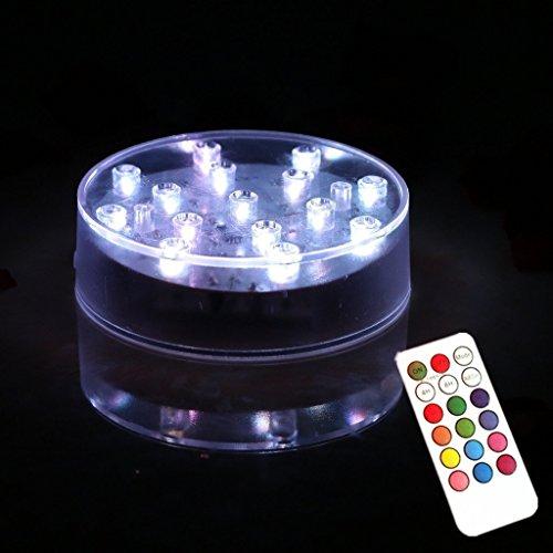Led Vase Base lumière – 10,2 cm Round télécommande 15 LED RVB LED Vase Base lumière avec 18 touches pour romantique Décoration de table de mariage, fête, festival, maison de rêve