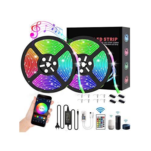 Striscia LED 10 m Wifi IP65 impermeabile, Audor RGB LED Kit 16 milioni di colori LED Band catena di luci LED musica Sync LED striscia di controllo App compatibile con Alexa, Google Home, IFTTT, 10m