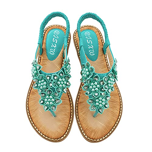 Sandalias planas de verano bohemia mujer deporte sandalia señora al aire libre rebordear flip-flops zapato joven femenino suave vacaciones playa zapatillas, color Verde, talla 39.5 EU
