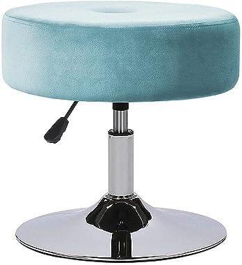 NZKW Coiffeuse pivotante à Hauteur réglable Tabouret Chaise Maquillage Velours Chambre rembourrée (Couleur : Bleu)