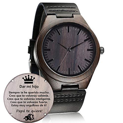 Relojes de Madera Personalizado, Moda Casual Clásico Hecho a Mano de Madera Reloje Regalo (Dar Hijo, Papa)