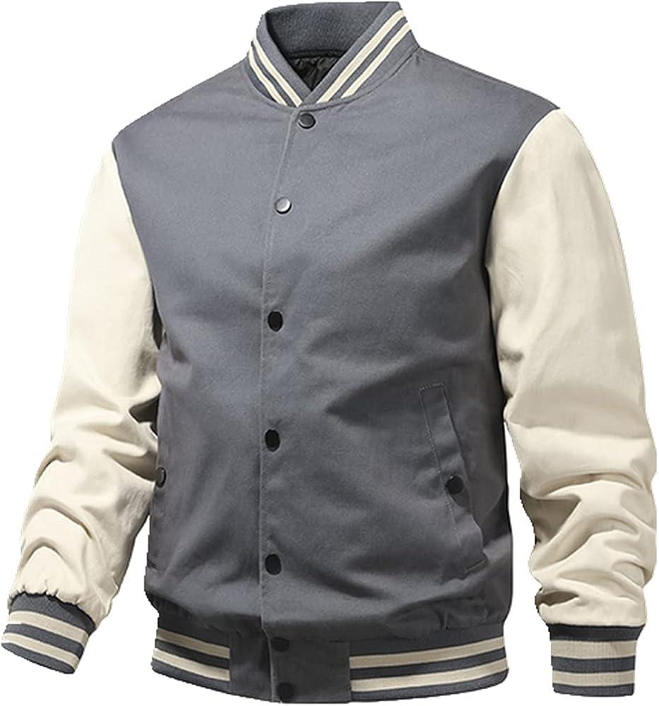 Spring Autumn Men Loose Uniform Casual Outerwear Collar Long Sleeve Wear