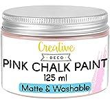 Creative DECO 125 ml Rosa Pintura a la Tiza para Muebles Chalk Paint | Mate y Lavable | para Renovación, Decoración, Decoupage, Manualidades | Posible Efecto de Barrido y Gradiente