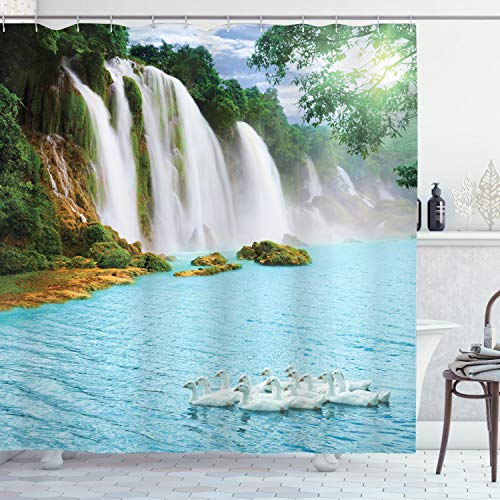 ABAKUHAUS Wasserfall Duschvorhang, See & Schwäne Natur, mit 12 Ringe Set Wasserdicht Stielvoll Modern Farbfest & Schimmel Resistent, 175x240 cm, Weiß Grün Blau