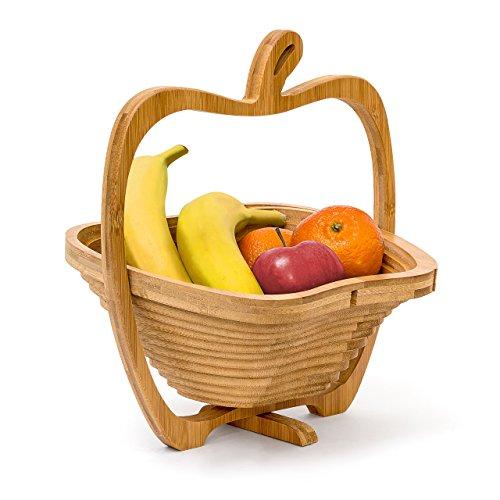 Portafrutta con design spiritoso forma mela ad effetto fisarmonica Si ripiega in pochissimi secondi Può essere utilizzato anche come un sottopentola o tagliere Portafrutta con supporto girevole - puo´ essere eventualmente appeso In bambu´: resistente...