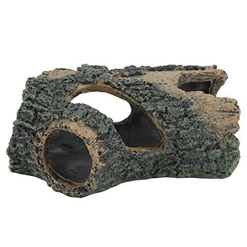 Fdit Decoración de Tronco de árbol de Resina de Acuario Tronco Artificial Pescado Camarones Escondite Cueva Pecera Simulación Decoración de Tronco de árbol con Agujeros