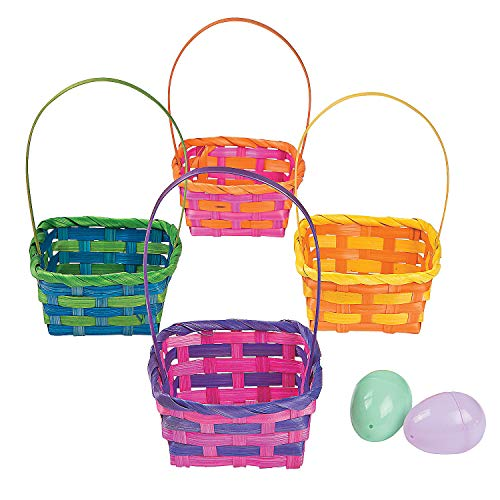 Square Easter Baskets (set of 12 brightly colored bamboo baskets) Bulk Easter Party Supplies