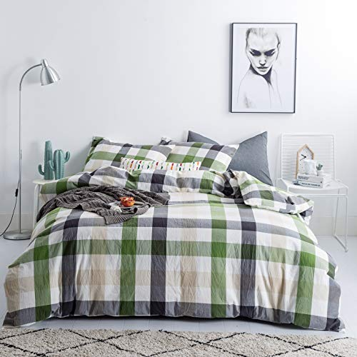 SUSYBAO 3 Pieces Duvet Cover Set 100% Natural Washed Cotton Queen 1 Duvet Cover 2 Pillowcases Luxury Quality Soft Comfort Durable Breathable Green Khaki Checkered Plaid Print Bedding with Zipper Ties