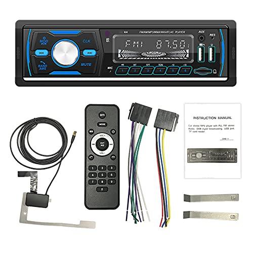 ZWMBAOR Reproductor Coche MP3 con Bluetooth,con Función Visualización Hora Y Luces Botón,Compatible con Disco U Y Tarjeta TF para Leer,para Modificación Interior Coche