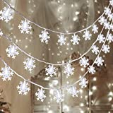 80 LED Christmas Snowflake String Lights Hanging Decorations - Winter Wonderland Lighted Decor for Holiday/Xmas Indoor Outdoor Party Supplies (32.8ft,Batteries Not Included)