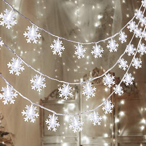 80 LED Christmas Snowflake String Lights Hanging Decorations - Winter Wonderland Lighted Decor for Holiday Xmas Indoor Outdoor Party Supplies (32.8ft ,Batteries Not Included)