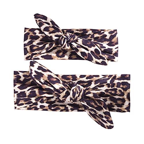 Zukmuk Fascia per Capelli Bambina Neonata Fasce con Stampa Floreale Uguale Mamma Figlia Fascia Elastica Fiocco Copricapo Turbante Principessa (leopardo, 2 Pieces)