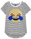 Osh Kosh Girls' Little Short-Sleeve T-Shirt, Emojis Sequin, 4-5