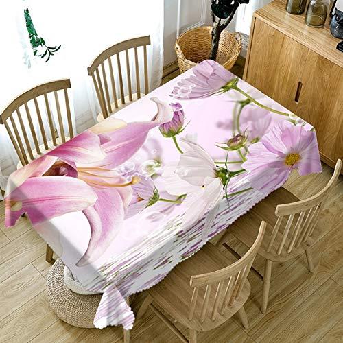 Rubyia - Tovaglia rettangolare lavabile, motivo floreale, 140 x 220 cm, colore: Bianco Rosa