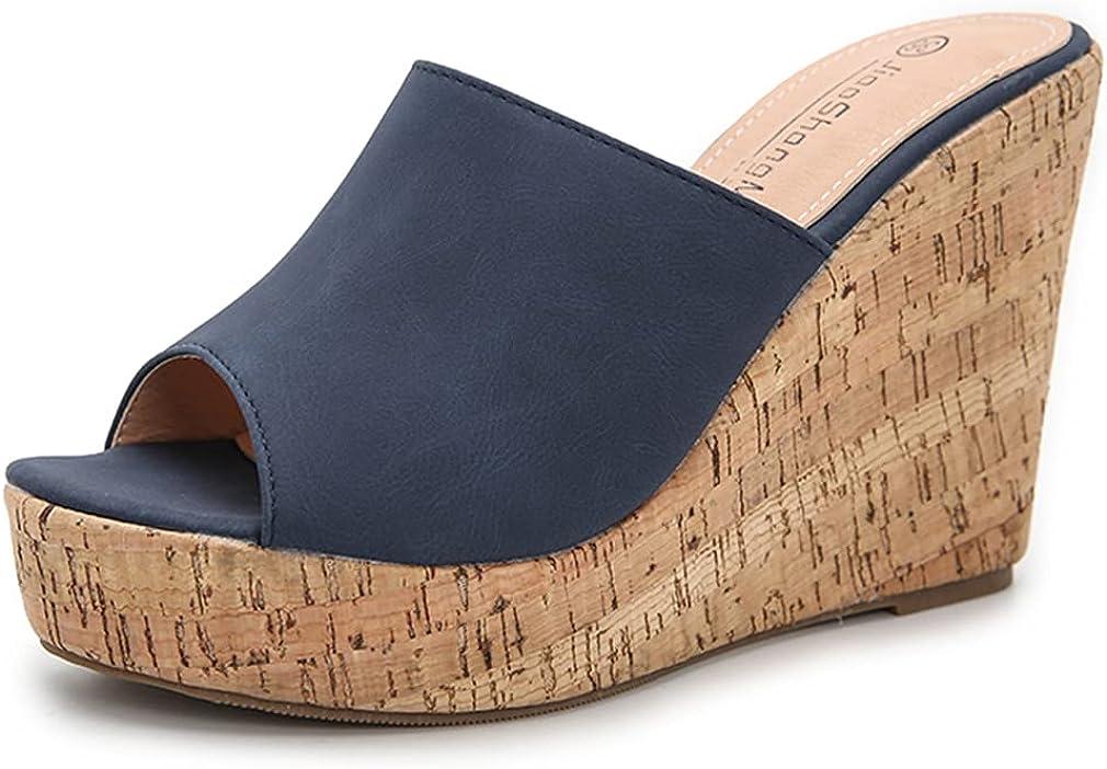 Dreamcia Women Peep Toe Cork Clearance SALE 40% OFF Cheap Sale Limited time Sandals Wedge Slip Platform Slides