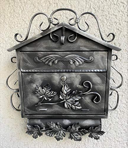 Wandbriefkasten Briefkasten Zaunbriefkasten Schmiedeeisen mit Zeitungsrole Schmiedeeisen Zeitungsfach Handgefertigt Antik Edelstahl