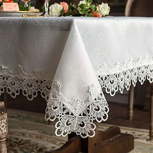 Popularna biała koronka stołowa pokrywa stołowa stół ręcznik biegacz krzesło pokrywa dekoracje ślubne okrągłe obrusy krzesło poduszka piękna (Color : White, Specification : 120cm round)
