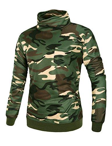 Legou Homme Sweat-shirt à capuche Couleurs Camoufalge Sweats de col debout Armée Vert Camouflage XX-Large
