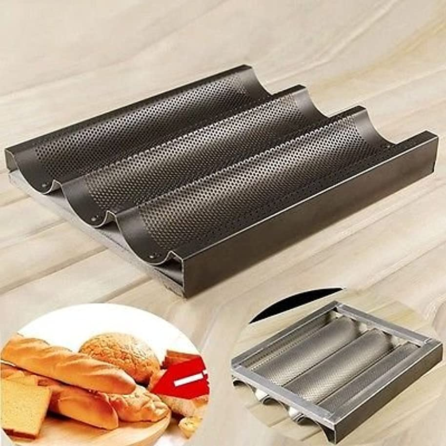 FidgetGear Nonstick 3 Mold Baguette French Bread Pan Aluminum Alloy Bake Tray Mould 9.6x11