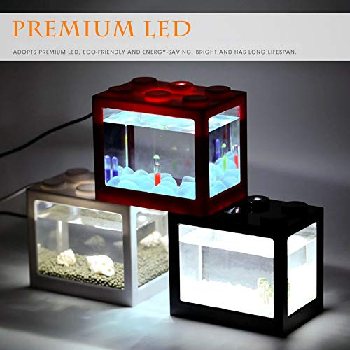 Eye eye 6 Farbe Mini Aquarium USB LED Licht Aquarium, Home Office Couchtisch Dekoration Kleine Baustein Aquarium (Farbe : Blau)
