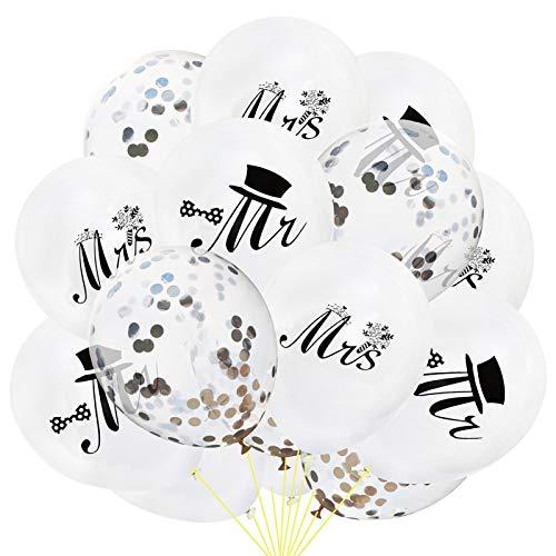 15 Globos de Mr. & Mrs.Globos recién Casados, Globos de Boda de 10 Pulgadas Globos Blancos Ideales para Decoraciones de Despedida de Soltera, Suministros de Boda y Despedida de Soltera