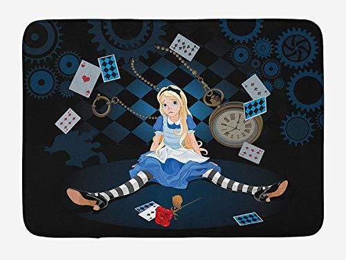 Fancyday badmat Alice in Wonderland, volwassenen maat Alice zittend met vliegende kaarten en tekeningen met roze ruiten, sweatshirt, donkerblauw