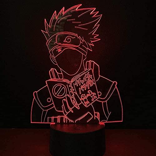 3D anime ilusión lámpara LED noche luz Kakashi Naruto cambio de color decorativo niño regalo niños manga lámpara de mesa kakashi vacaciones cumpleaños regalos