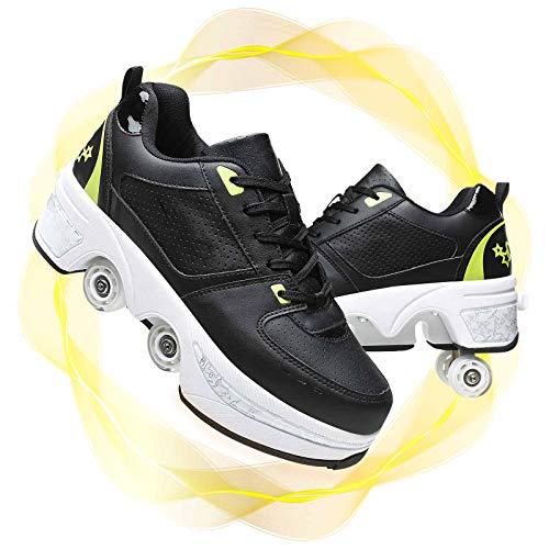 Multifuncional Patinaje sobre Ruedas Cuádruple Deportes Al Aire Libre Zapatos con Ruedas De Deformación Recargables Patines De Ruedas Adulto,Black Green,37